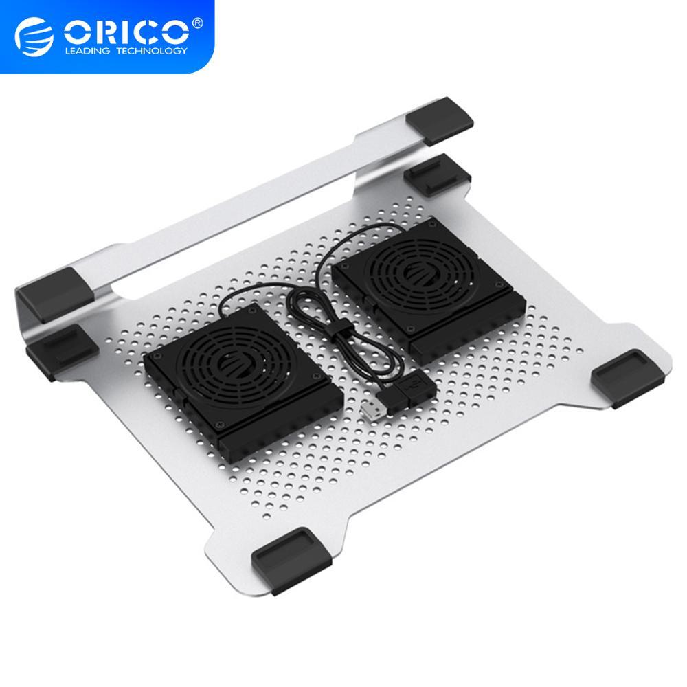 ORICO 15 بوصة الألومنيوم قاعدة تبريد كمبيوتر محمول محمول دفتر الألعاب حامل تبريد مع 2 المشجعين 3000CRM و USB ميناء لأجهزة الكمبيوتر المحمول ماك