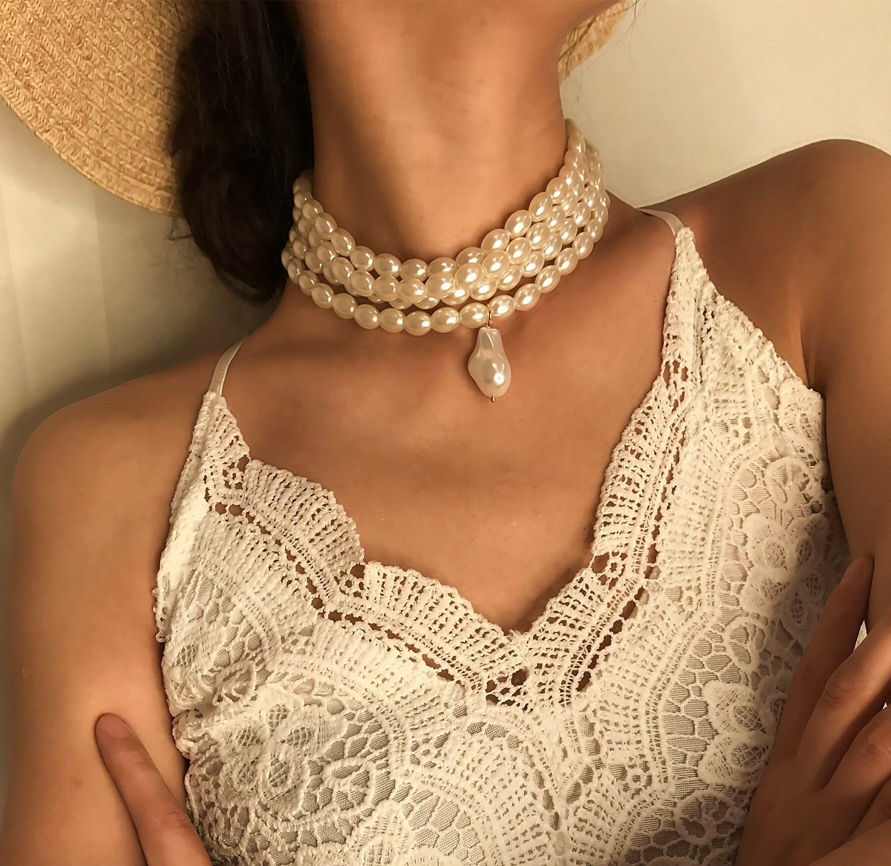 Collar con cuentas geométricas salvajes de personalidad Simple con COLLAR COLGANTE de perlas multicapa para el cumpleaños de las mujeres de moda