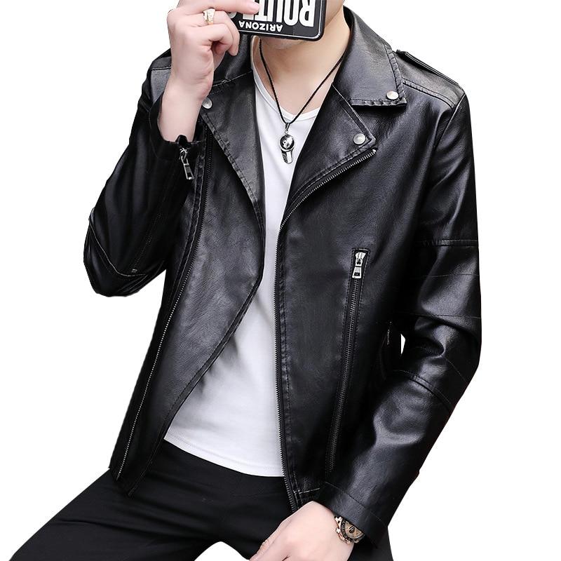 Spring and autumn PU men's leather jacket fashion lapel diagonal zipper motorcycle leather jacket jacket men
