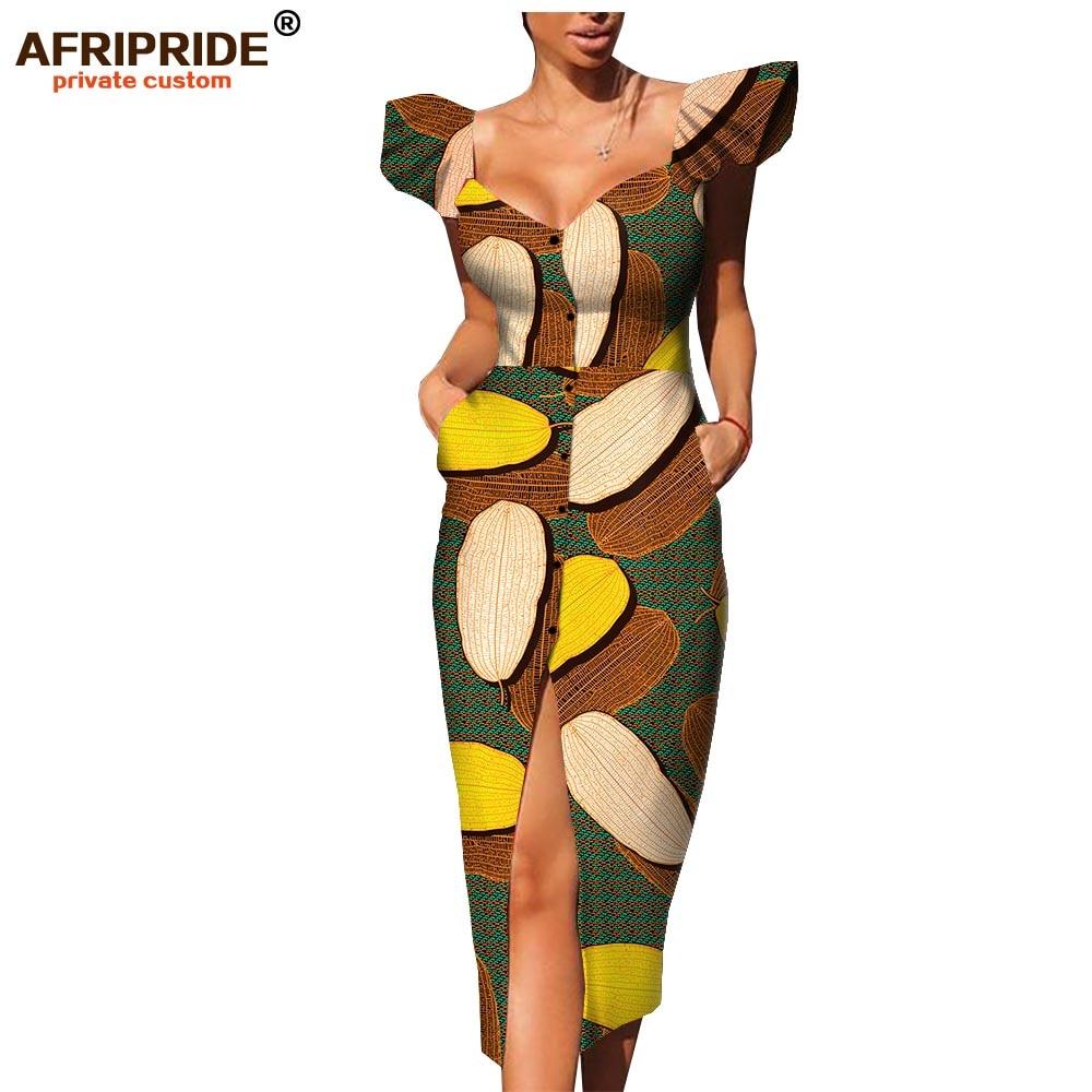 Afripride estampado de Ankara vestido africano para mujer hecho a medida de un solo pecho de longitud de pantorrilla de las mujeres vestido de algodón A1925054