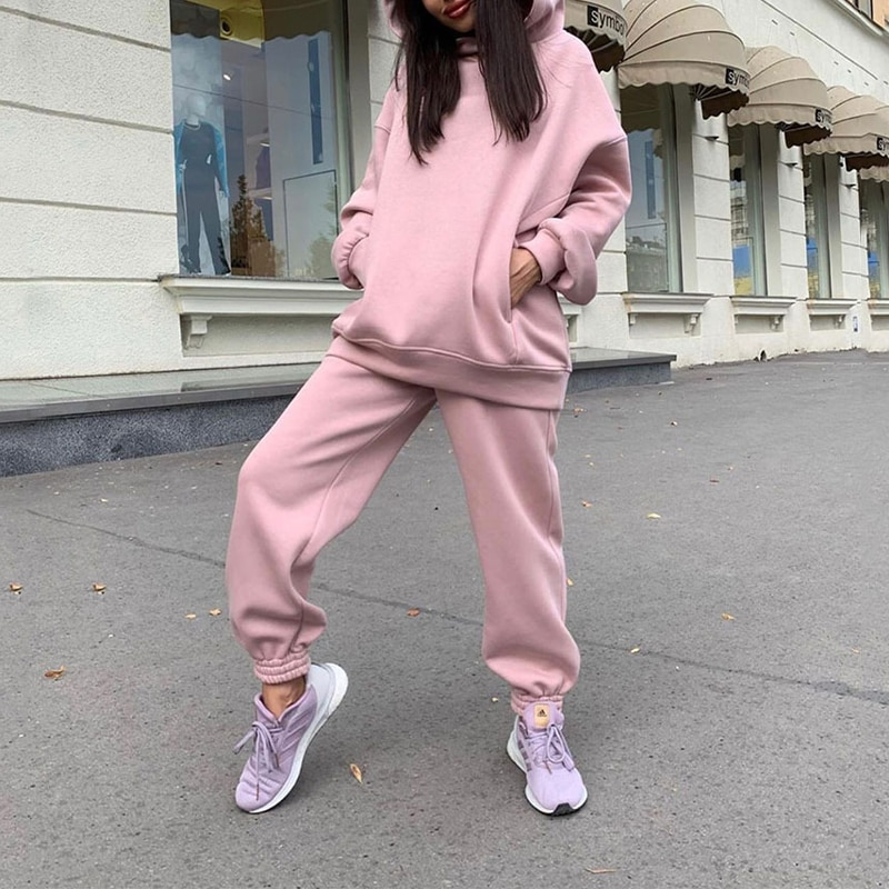 Two Piece Casual Fleece Tracksuit Women's Sets Oversized Hooded Long Sleeve Women Hoodie Suit Winter Solid Sport Pants Lady Set