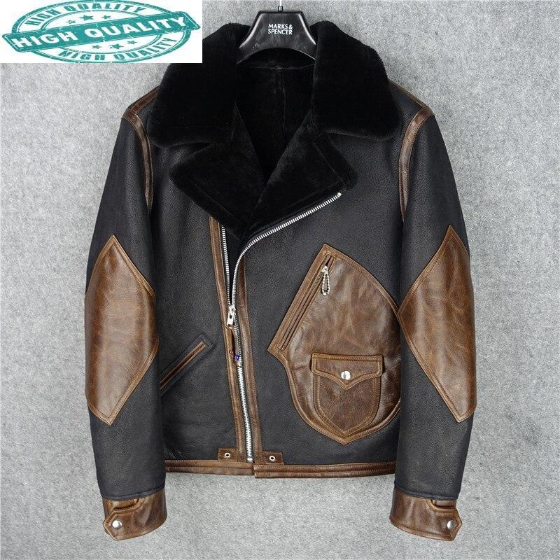سترة حقيقية الرجال جلد البقر الملابس الذكور الشتاء ملابس للرجال 100% الصوف معطف دراجة نارية جاكيتات Chaqueta Hombre LXR522