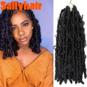 Sallyhair 14'' 18'' 24'' Butterfly Locs Crochet Hair Butterfly Bob Faux Locs Curly Crochet Braids Hair Messy Soft Locs