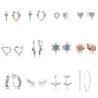 925 silver earrings feather heart snowflake earrings for women wedding party jewelry