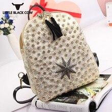 Nueva mochila con tachuelas de diamantes para mujer, mochila con estampado colorido, bolsas de viaje informales con borlas, mochila brillante coreana para chicas