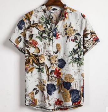 Camisa masculina de verão, gola étnica estampada para homens, algodão, faixa de linho, manga curta, camisa solta havaiana henley, camisa havaiana