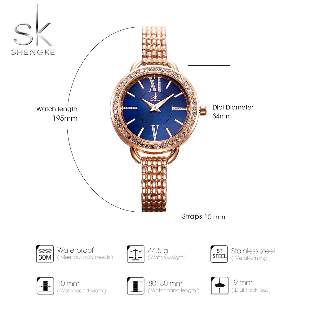 Shengke Silver Gold Quartz Watch For Women Dresses 2019 SK Luxury Crystal Ladies Watches Gift Relogio Feminino Montre Femme enlarge