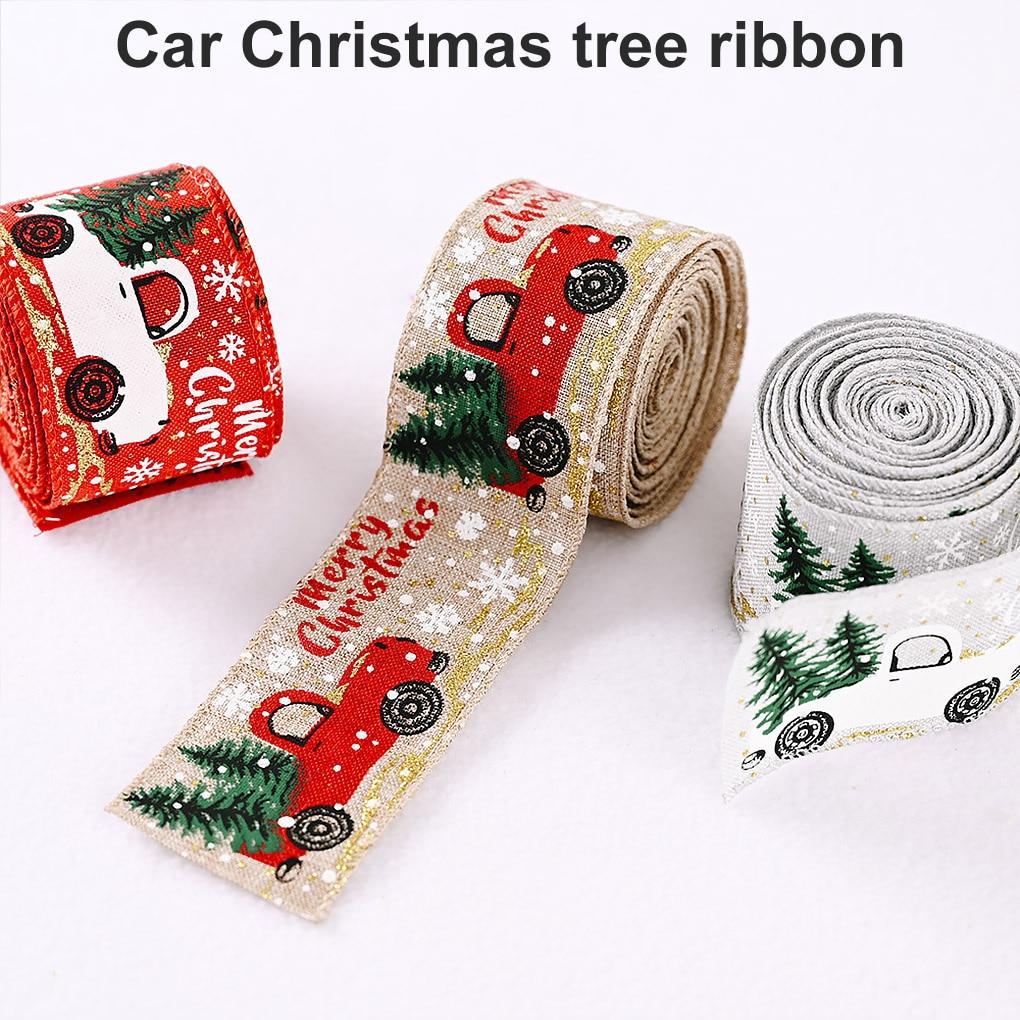 Christmas Ribbon Printed Burlap Ribbons For Gift Wrapping Wedding Decoration Hair Bows DIY Christmas Tree Ribbon Wreath Bows