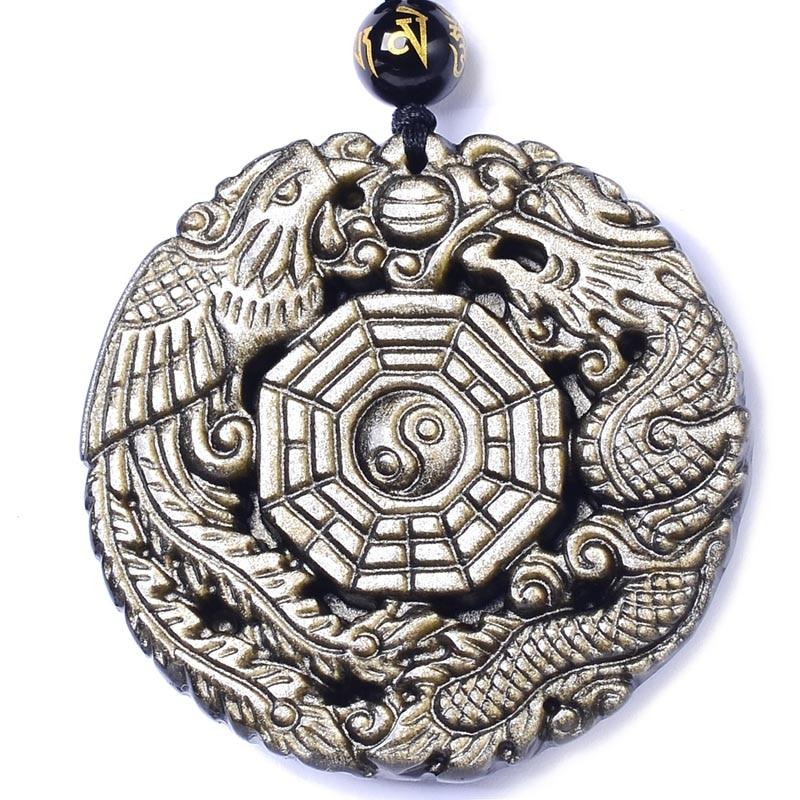 Obsidiana dorada natural colgante collar dragón Fénix con cadena los ocho trigramas colgante amuleto paz mascota para hombres/mujeres