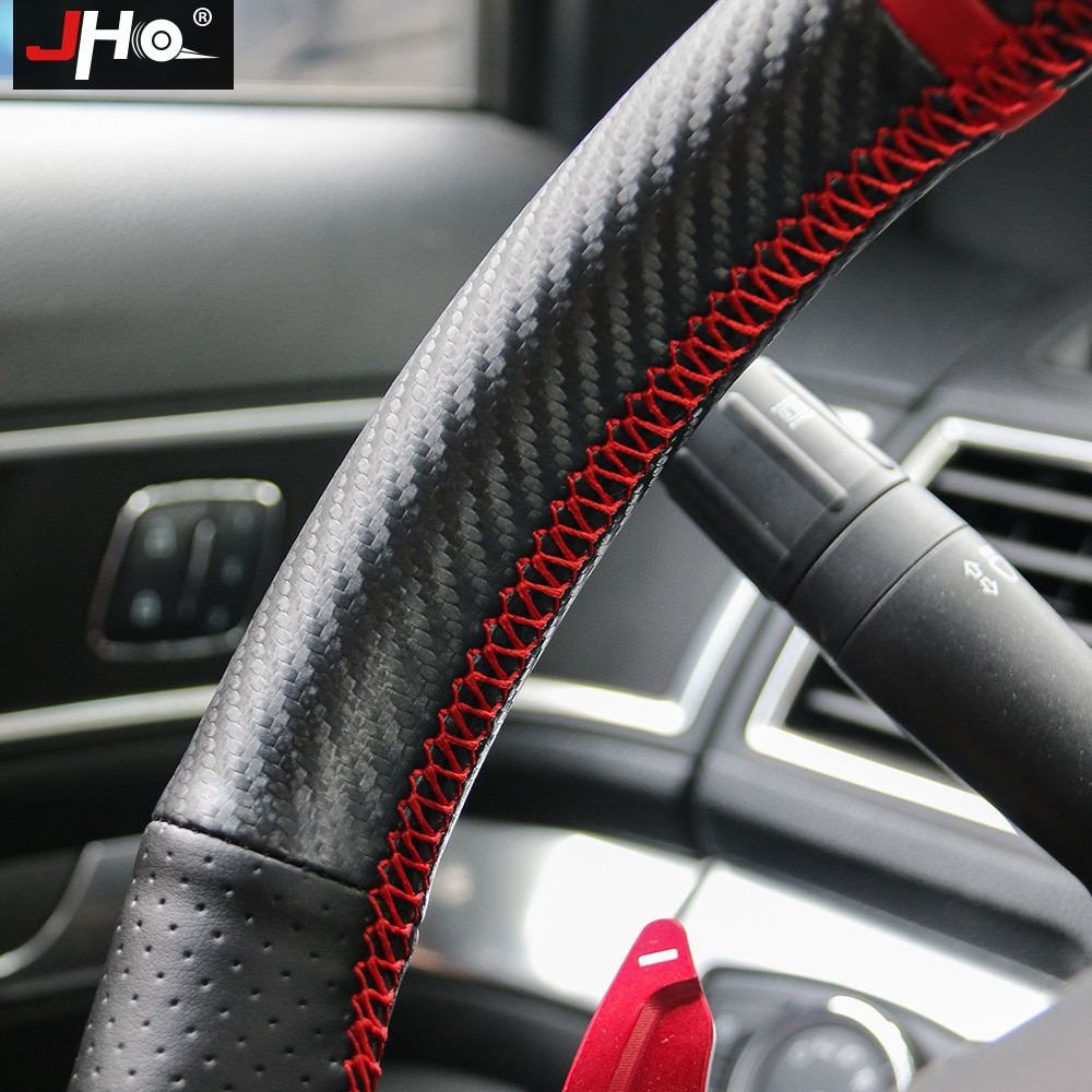 JHO Car Artificial Leather Wear-resistant Hand-stitched Sewing Steering Wheel Cover For Ford Explorer 2011-2018 13 14 15 16 17 enlarge