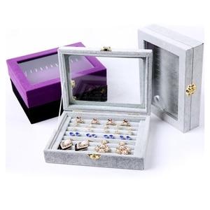 Jewelry Ring Organizer Display Travel Box Velvet Wood Earrings Storage Holder Case A66