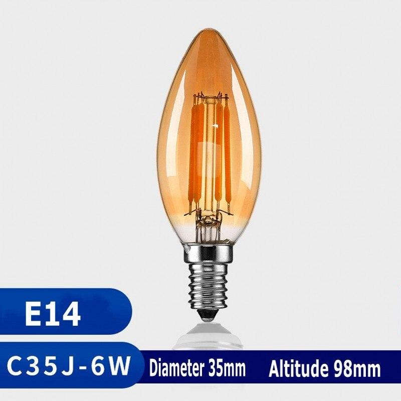 E14 E27 Ретро светодиодный спираль лампа накаливания светильник Светодиодная лампа 4 Вт 6 Вт теплый желтый 220V C35 A60 T45 ST64 T185 T225 G80 G95 G125 Винтаж Эдис...