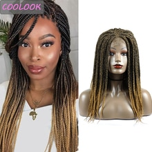 18'' Brown Braided Wigs for Afro Women Ombre Synthetic Lace Front Wig with Body Hair Heat Resistant Fiber 4x4Lace Box Braids Wig