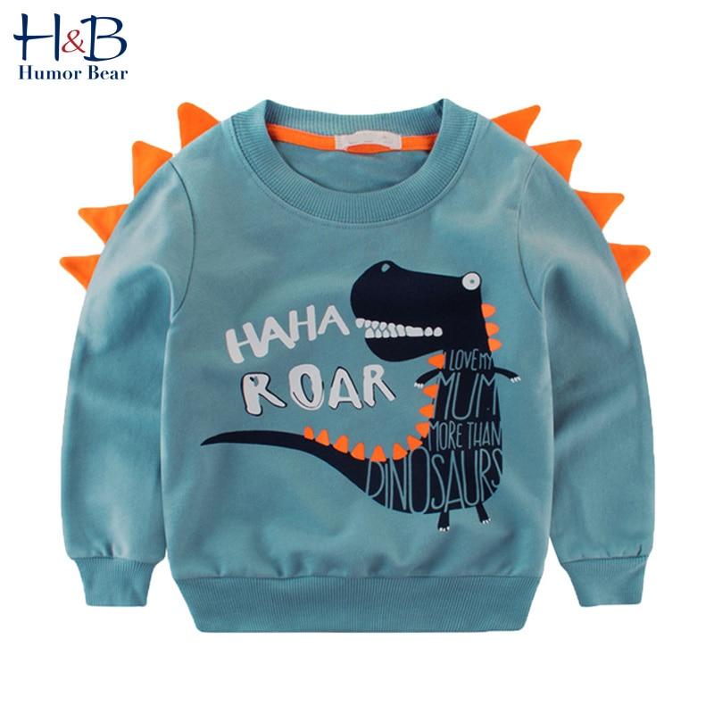 Humor urso crianças primavera & outono roupas para crianças camisola do bebê de manga comprida dos desenhos animados dinossauro padrão outwear 2-6y