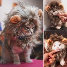 Funny Cute Pet Hat Cat Costume Pet Cat Dog Wig Emulation Lion Hair Mane Fancy Dress With Ears Pet Clothes Muffler Scarf