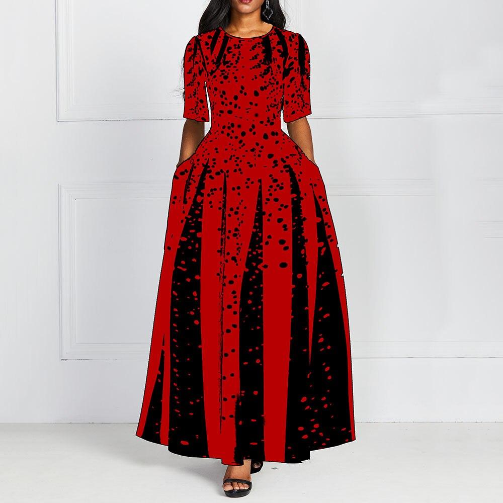 De las mujeres de la moda mitad roja manga larga elegante cuello redondo Boho venda larga impresión vestido Midi para mujer Casual Slim damas vestido