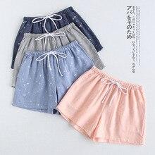 Summer Men and Women Pyjama Bottoms Couple Small Stars Print Cotton Double Layer Gauze Elastic Waist