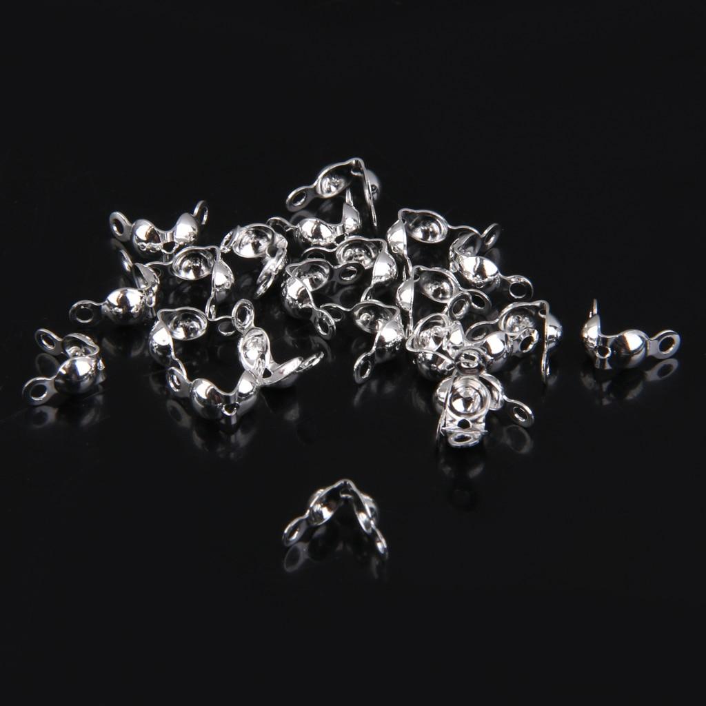 20 piezas fundas con nudo de concha de almeja con punta de cuentas de 4mm para manualidades joyería artesanal color plateado, doble cierre bucles accesorios de joyería DIY