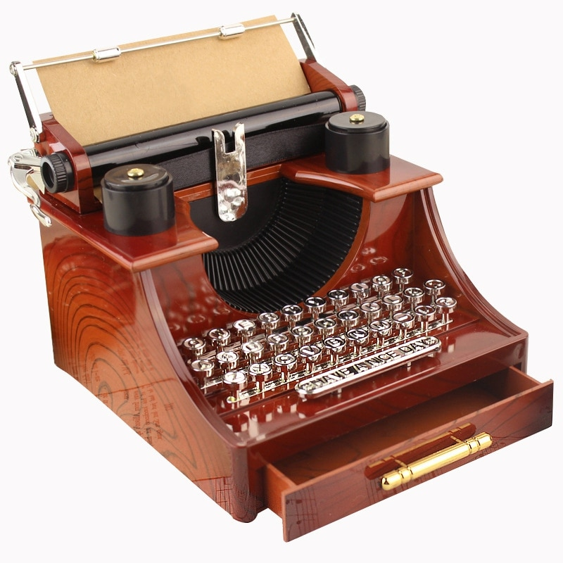 Home Retro Vintage Typewriter Music Box For Home Room Office Mechanical Decoration Kids Retro Music