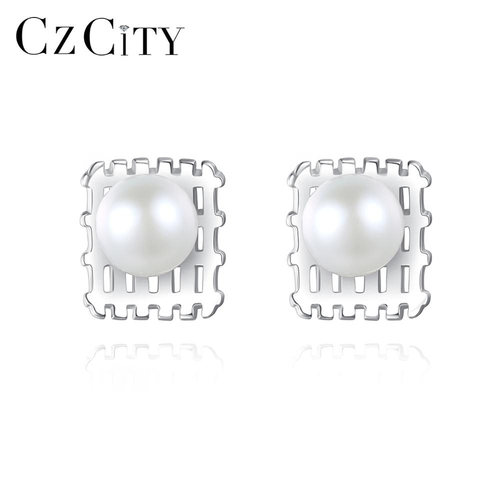 CZCITY White Natural Pearls Stud Earrings for Women 925 Sterling Silver Fine Jewelry Dating Party Ch