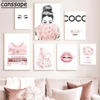 perfume bottle poster pink flowers print eyelash lip canvas painting fashion posters modern wall paintings for girl room decor