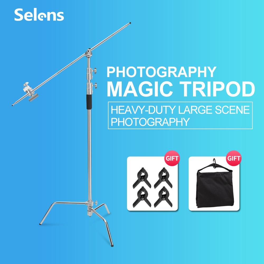 Selens C-Stand حامل التصوير الفوتوغرافي الفولاذ المقاوم للصدأ مع عقد الذراع/قبضة رئيس/تمديد دعم قضيب ولوحة العلم ل Fotografia