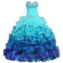 Turquoise robes de bal chérie Organza perlée robe de bal Debutante volants mexicain élégant Quinceanera robe douce 15 16