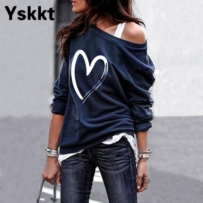Yskkt Women's Pullover Sweatshirt Heart Printed Long Sleeve One Shoulder Tops Autumn Winter Sweat Sh
