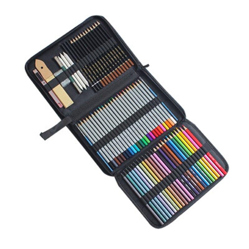 Juego de lápices y bocetos portátiles multifuncionales Kit completo de artista Incluye funda de transporte con cremallera dibujo artístico para estudiantes