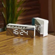 1 ud. Espejo Digital creativo mesita de noche LED despertador hora termómetro modo nocturno reloj noche luces Reloj de pared TSLM1