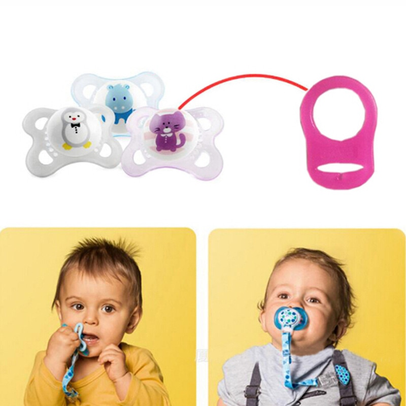 5Pcs Baby Dummy Pacifier Holder Clip Adapter For MAM Ring Multi Colors Silicone Button For Newborn Baby Accessories