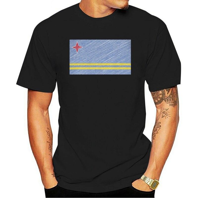2021 Fashion Casual 100% Cotton T-shirt Aruba Scribble Flag Mens Top Gift Aruban Football Tops