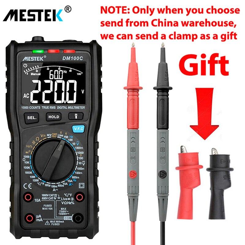 MESTEK DM100C True-RMS цифровой мультиметр Кнопка 10000 граф с аналоговым гистограммой AC/DC Напряжение Амперметр Ток Ом Руководство/Авто