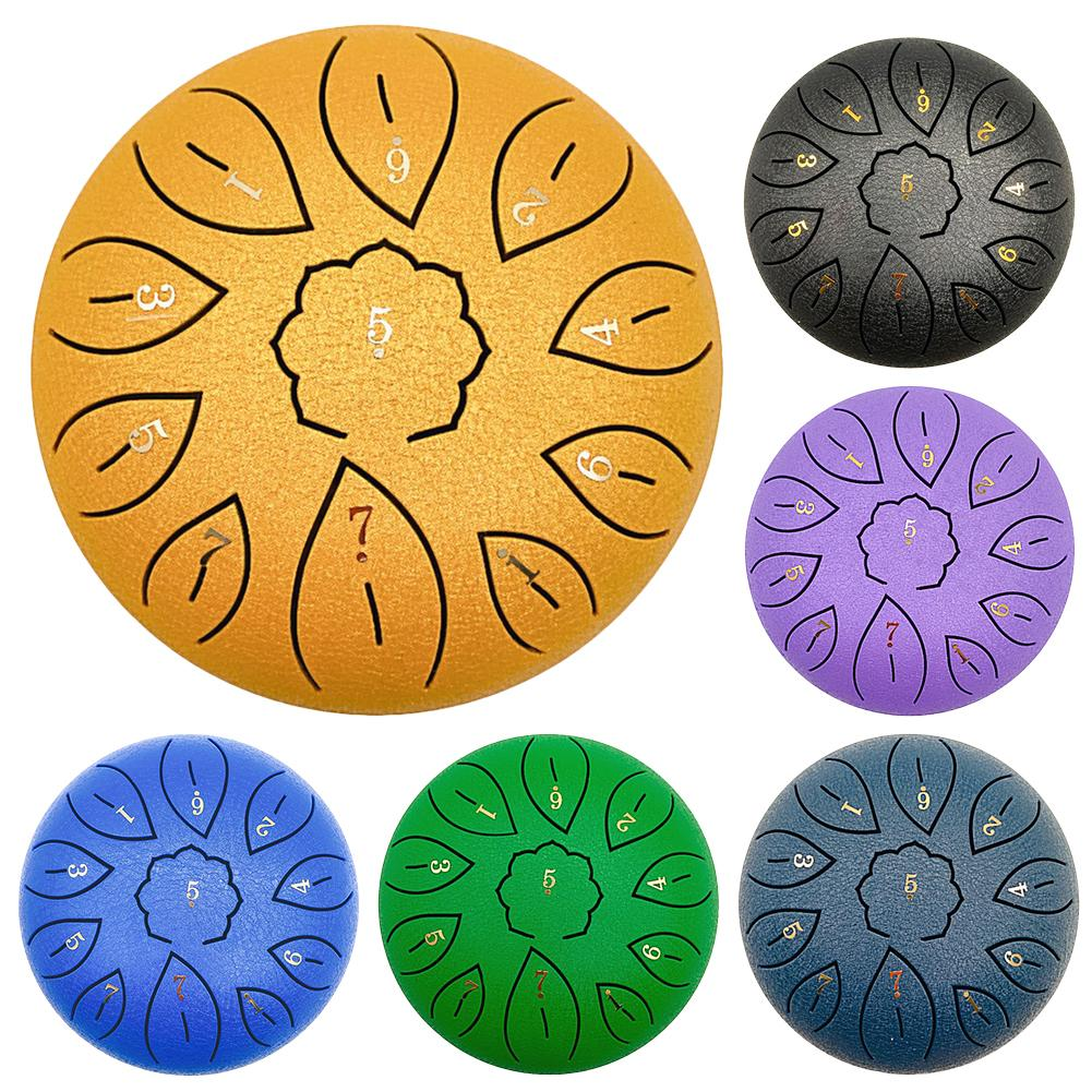 Steel Tongue Drum Drumsticks Drum With Finger Cots Yoga Meditation 6 Inch Steel Tongue Drum Instruments Accessories
