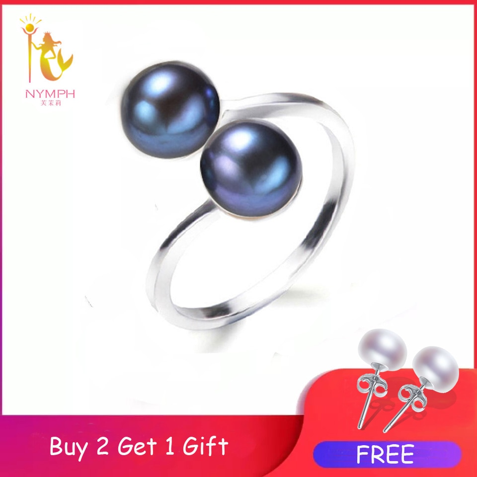 Anillos de perla de Ninfa, joyería de perlas naturales de agua dulce, anillos dobles de moda, bandas de boda, regalo de fiesta de cumpleaños para niñas y mujeres R028