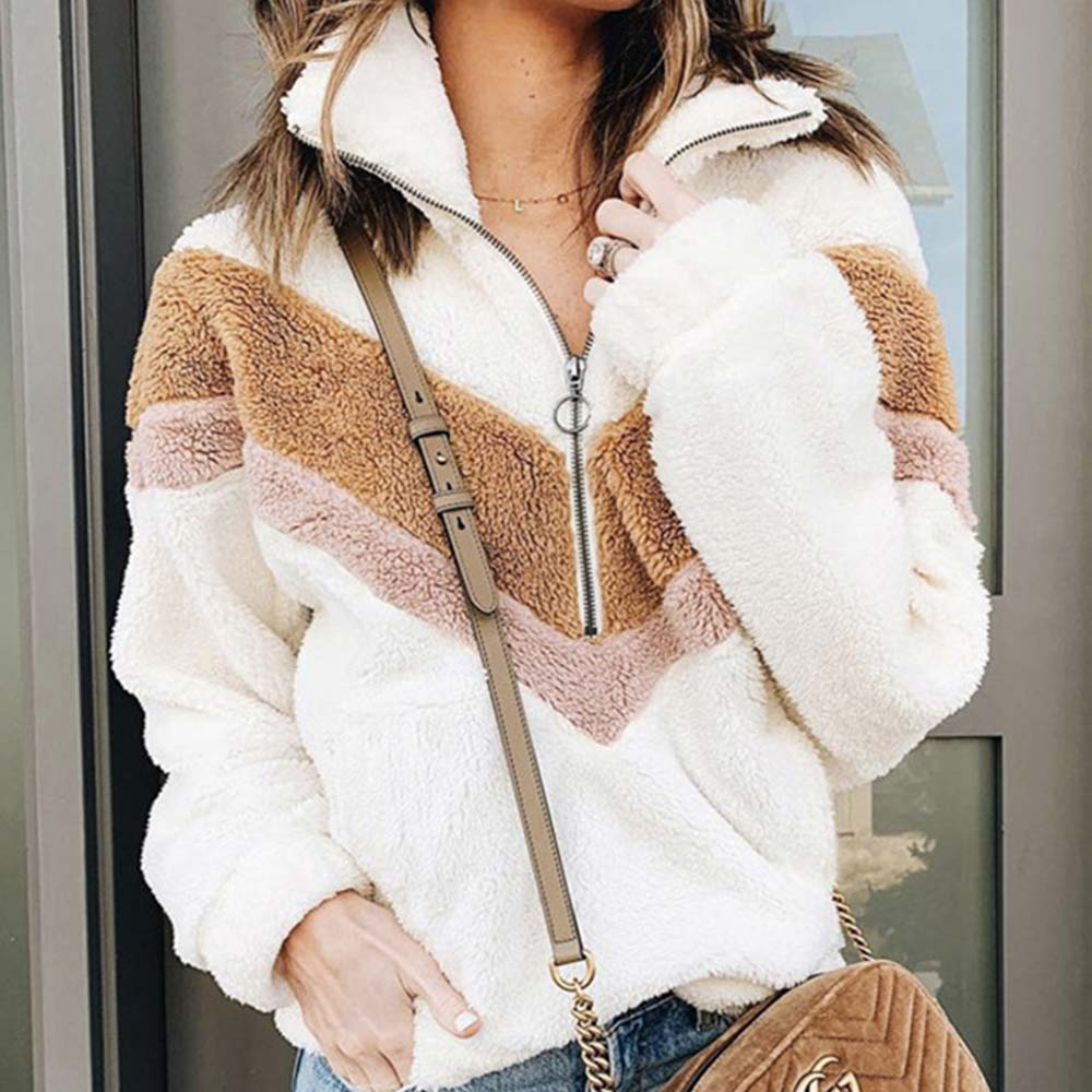 Fashion Turtleneck Sweater Women Velvet Autumn Winter Clothes Half Zipper Striped Patchwork Loose Casual Pullover