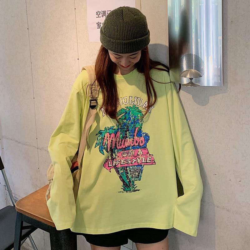 Mujer verano camiseta Kawaii Vintage Lovely Loose carta impresa aguacate verde Camiseta femenina dulce Harajuku túnica para las mujeres Top