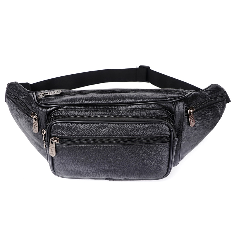 Genuine Leather Waist Bag men Waist Pack Waist Bag Funny Pack Belt Bag Men Chain Waist Bag For Phone