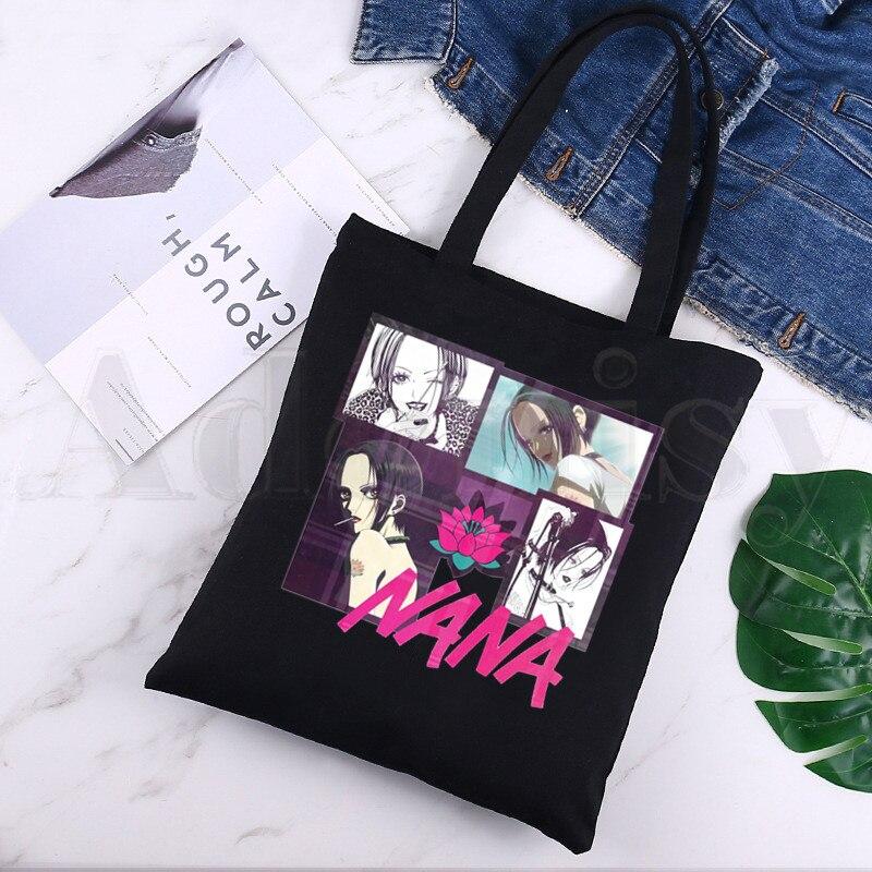 туфли chic nana chic nana ch039awtll45 Nana Anime Manga Nana Osaki And Ren Honjo Harajuku Black Canvas Print Shopping Bags Girls Fashion Life Casual Pacakge Hand Bag