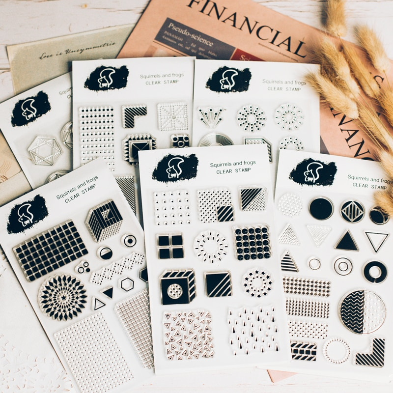 1 ud. Sello de impresora retro transparente patrón geométrico sellos de silicona claro Fondo inglés sellos transparentes kawaii