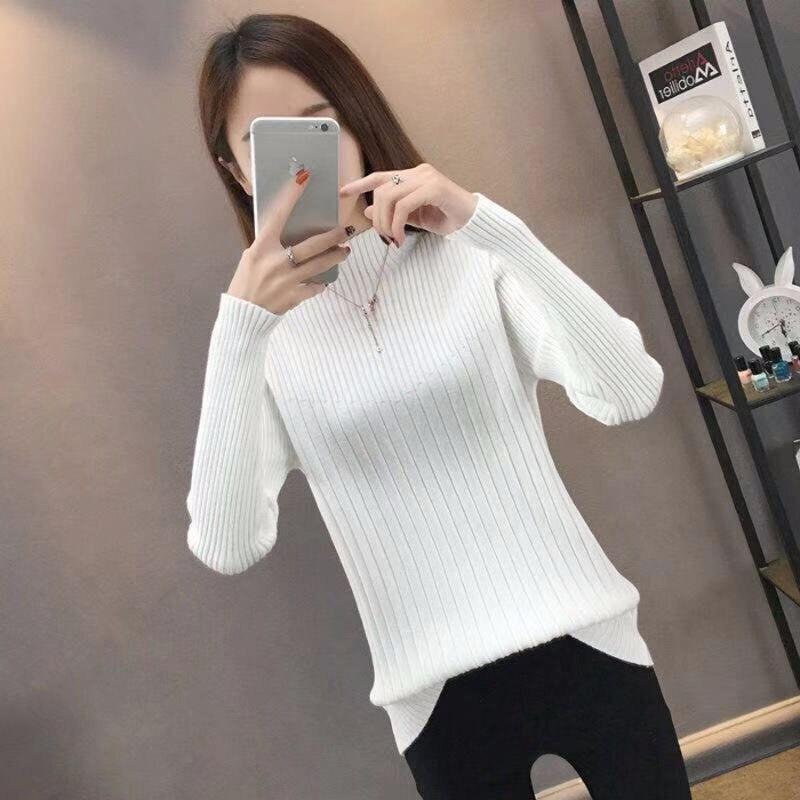 Zoki moda mujer jersey de cuello alto suéter sólido otoño manga larga de punto grueso cálido Delgado ajuste señoras Jersey blusa 2020