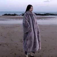 2021 winter women high quality faux mink fur coat luxury long fur coat lapel overcoat thick warm plus size female plush coats