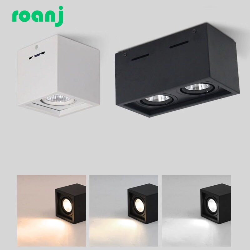led spotlight cob ceiling light focusing bedside wall lamp led downlight foldable adjustable angle household indoor lighting Dimmable LED downlight COB spotlight AC85-265V10W 20W surface mounted square LED ceiling light COB spotlight indoor lighting