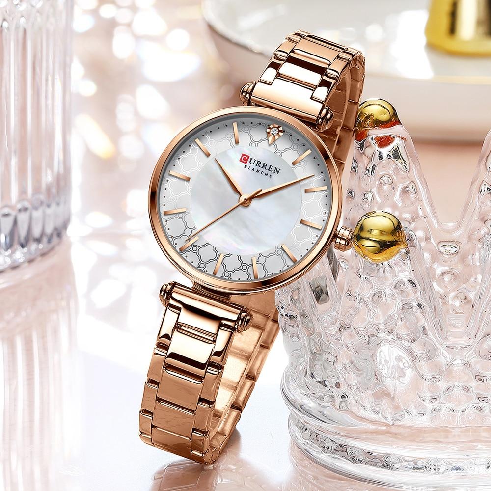 ساعة نسائية ذهبية مقاومة للماء من كارين, ساعة نسائية من الستيل باللون الذهبي بتصميم مبتكر موديل 2020