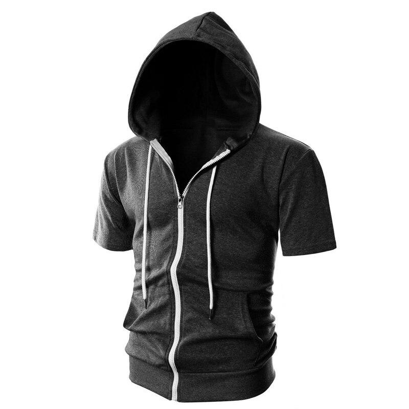 Nouvelle mode hommes pull à capuche dautomne couleur unie col rond Streetwear 2020 court sweat à capuche et manches longues Hip-hop veste à capuche décontractée sweats à capuche Homme H021