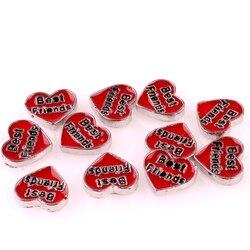 20 Pçs/lote F627 Vermelho Em Forma de Coração Banhado A Palavras Melhor Amigo Encantos Medalhão Constatação Medalhão De Vidro Acessórios de Jóias