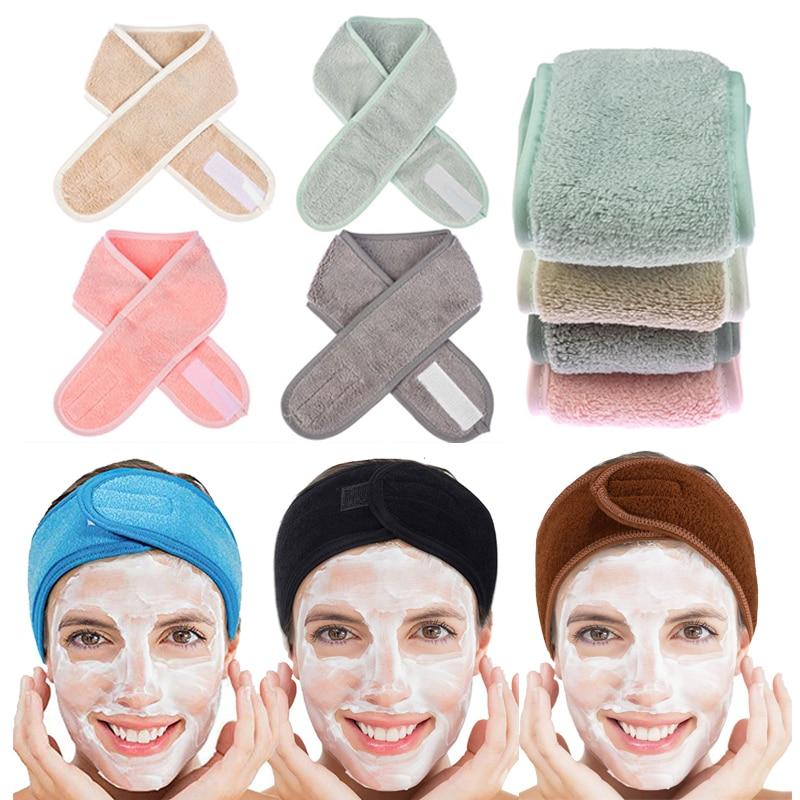 Banda ajustable para la cabeza de toalla de maquillaje para mujer, banda suave ajustable para la cabeza, cinta para el cabello para SPA Facial, accesorios económicos para el cabello