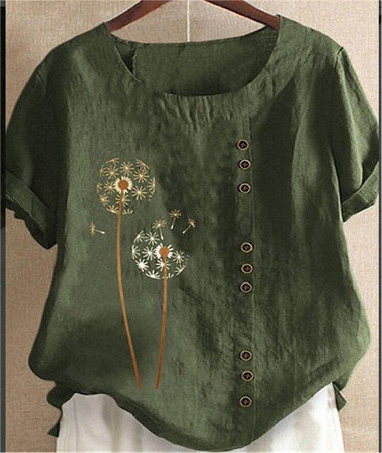Botões de Linho de Algodão Floral Imprimir Mulheres Blusa Meia Manga Praia Camisa Escritório Camisas do Pulôver Das Senhoras O-Neck Tee Tops Feminino