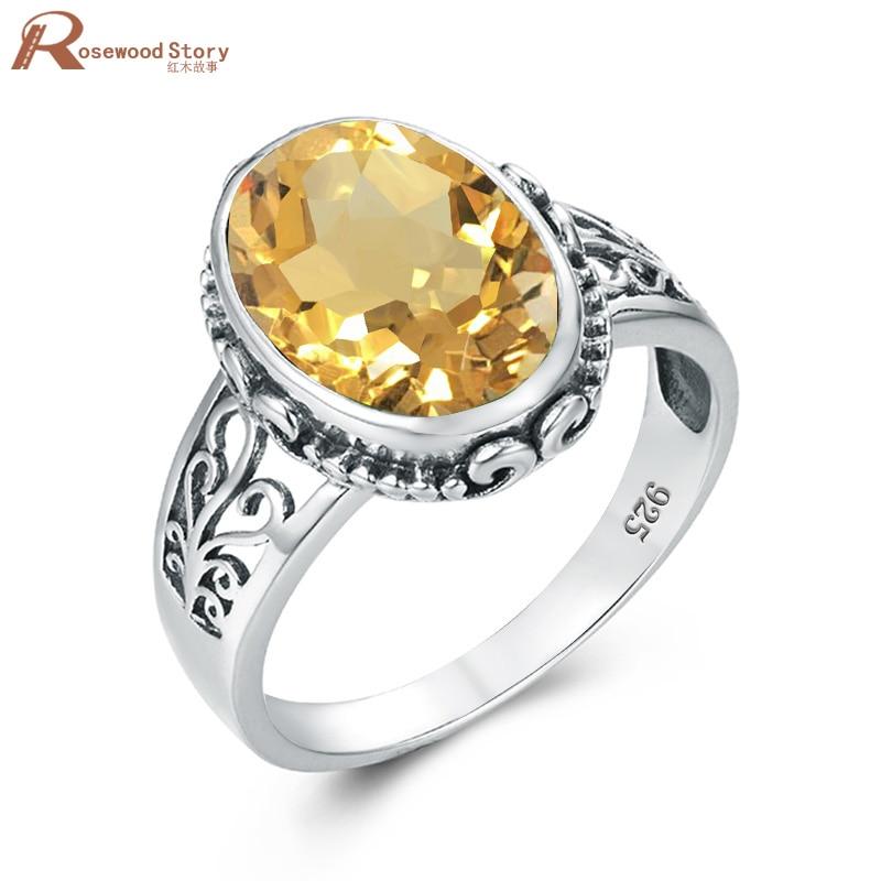 Anillo citrino amarillo para mujer, Plata de Ley 925, anillos de piedras preciosas ovaladas para hombre, joyería Bohemia hecha a mano para mujer, conjuntos nupciales a la venta