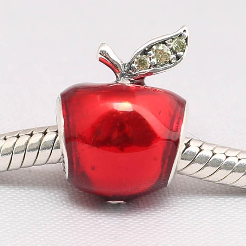 Autêntico s925 grânulo diy jóias esmalte vermelho maçã charme apto senhora pulseira presente da menina